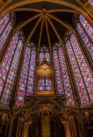 gothic window: Sainte chapelle (holy chapel) in Paris, France