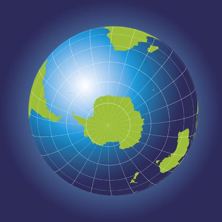 antartide: Antartide e Polo Sud mappa. Antartide, Australia, America, Africa. Globo della terra. Elementi di questa immagine fornita dalla NASA Vettoriali