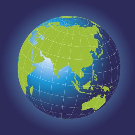 Asia map.  Australia, Russia, Africa, North pole. Earth globe.