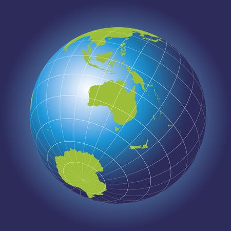 Mapa Australia. Asia, Rusia, la Antártida, el Polo Norte. Globo de la tierra. Foto de archivo - 33454693