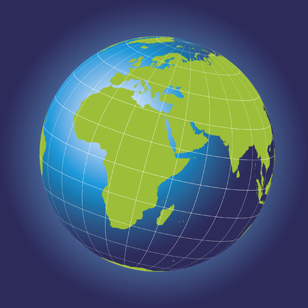 hemisphere: Europe and Africa map.  Europe, Africa, Russia, Asia, North pole, Greenland. Earth globe.  Illustration