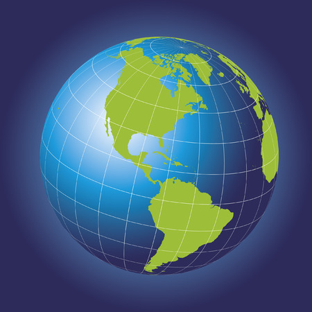 North America map. Europe, Greenland, North Pole, South America. Earth globe. Elements of this image furnished by NASA Vector