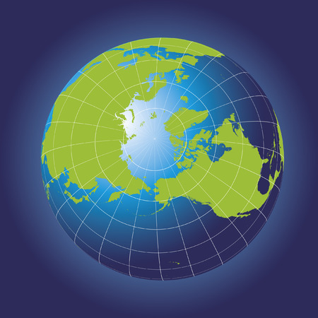 North Pole map. Europe, Greenland, Asia, America, Russia. Earth globe.