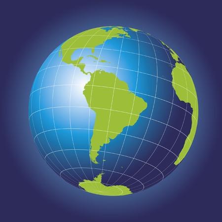 south pole: South America map. Antarctica, North America, Africa. Earth globe.