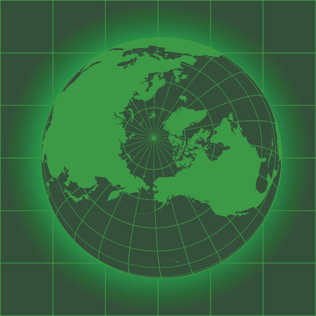 crt: Green North Pole map. Europe, Greenland, Asia, America, Russia. Earth globe. Elements of this image furnished by NASA Illustration