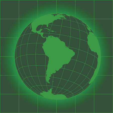 crt: Green South America map. Antarctica, North America, Africa. Earth globe. Elements of this image furnished by NASA Illustration