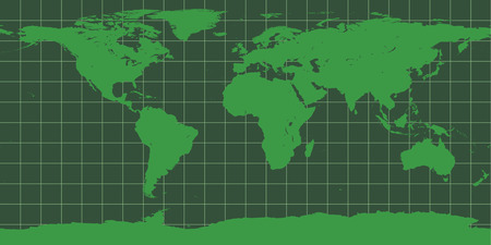 Map of the world as seen in an old green phosphor monitor