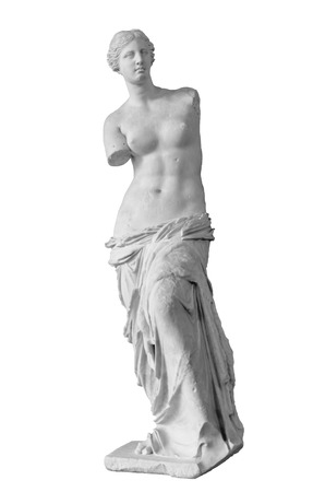 Statue called Venus of Milo or Aphrodite of Milo isolated over a white background
