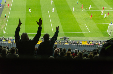 complain: Soccer supporters complain for a bad decision of the referee
