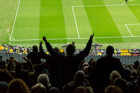 Football fans protest against a bad decision of the referee