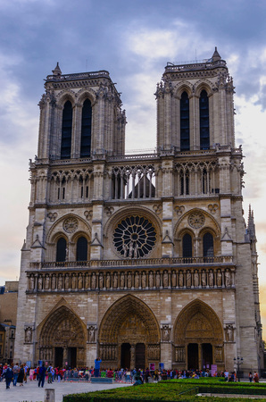dame: FRANCE, PARIS September, 17.2014: Visitors and tourist in Notre Dame