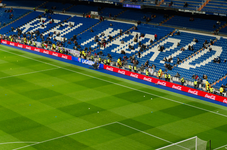 real world: MADRID, SPAIN-FEBRUARY, 4: Santiago Bernabeu Stadium of Real Madrid on February 4, 2015 in Madrid, Spain. Real Madrid is one of the best football clubs of the world Editorial