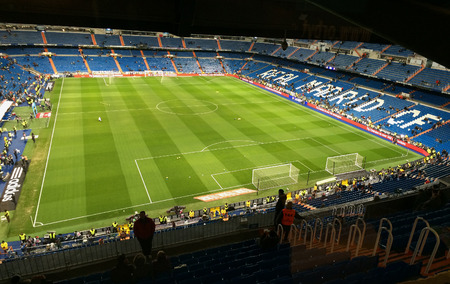 castellana: MADRID, SPAIN-FEBRUARY, 4: Panoramic view of Santiago Bernabeu Stadium on February 4, 2015 in Madrid, Spain. Real Madrid is one of the best soccer clubs of the world