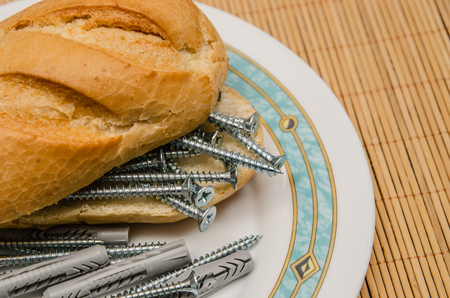 sanwich: A sandwich made with screws and dowels Stock Photo