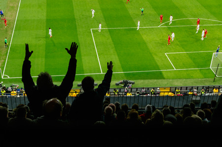 footballs: Soccer fans in a match. Furious spectators complaint about a bad decision of the referee Stock Photo