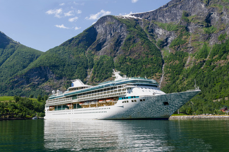 fjords: Cruise ship Legend of the Seas of Royal Caribbean International moored in Flam port. Editorial