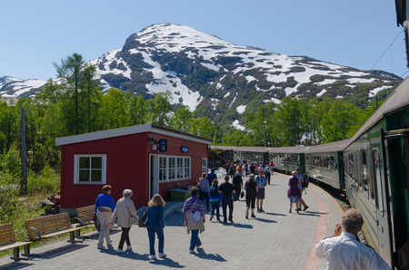 stopped: Flamsbana, the flam line. The train is stopped in Vatnahalsen station, near to the snow