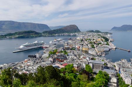 alesund: Cruise ship Legend of the Seas of Royal Caribbean International moored in Alesund port. Editorial