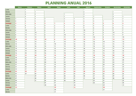 day planner: 2016 Annual planner. Spanish calendar for year 2016. Week starts on Monday