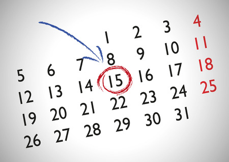 Appointment in a generic calendar for marking an important date Vector