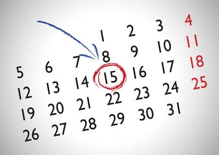 Cita en un calendario genérico para marcar una fecha importante Ilustración de vector