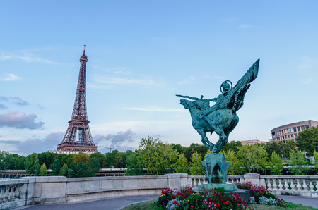 france: La france renaissante. Statue in the isle of the swans near Eiffel tower in Paris. France reborn statue Stock Photo