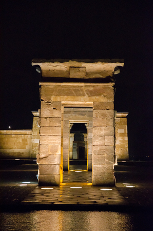 RELOCATED: Front view at night of the Temple of Debod in Madrid. Templo de Debod. Egyptian temple devoted to goddess Isis and relocated in Madrid