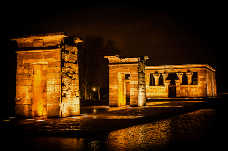 relocated: Temple of Debod at night inMadrid, Spain