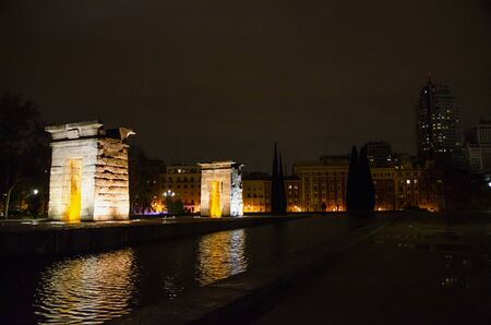 RELOCATED: Debods Temple at night in the city of Madrid. Templo de Debod. Egyptian temple dedicated to goddess Isis