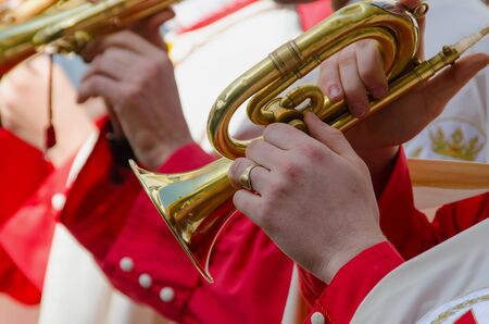 cornet: A cornet player plays his istrument in a parade