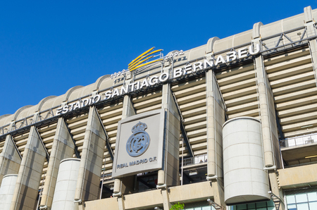 castellana: MADRID, SPAIN - APRIL 18: Facade of the Santiago Bernabeu Stadium on April 18, 2015 in Madrid, Spain. Real Madrid is one of the best football clubs of the world Editorial