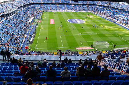 castellana: MADRID, SPAIN - APRIL 18: Santiago Bernabeu Stadium before the match on April 18, 2015 in Madrid, Spain. Real Madrid C.F. was born in the year 1902 and Santiago Bernabeu Stadium is its headquarters
