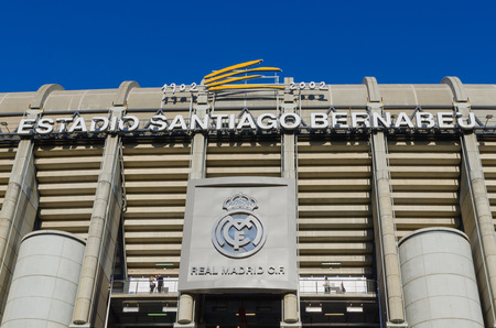castellana: MADRID, SPAIN - APRIL 18: Facade of the Santiago Bernabeu Stadium on April 18, 2015 in Madrid, Spain. Real Madrid is one of the best soccer clubs of the world Editorial