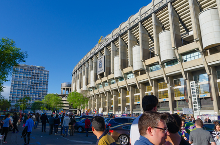 castellana: MADRID, SPAIN - APRIL 18: Facade of the Santiago Bernabeu Stadium on April 18, 2015 in Madrid, Spain. Real Madrid C.F. was born in the year 1902 and Santiago Bernabeu Stadium is its headquarters