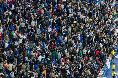 castellana: MADRID, SPAIN - APRIL 18: Santiago Bernabeu Stadium spectators in the match on April 18, 2015 in Madrid, Spain. Santiago Bernabeu Stadium is the headquarters of Real Madrid C.F. Editorial