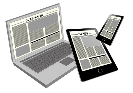 Electronic newspaper viewed in three different portable devices: laptop, tablet pc and smartphone. Cross platform and multimedia equipment photo