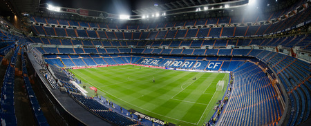 MADRID, SPAIN - APRIL 29: Night view of Santiago Bernabeu stadium on April 29, 2015 in Madrid, Spain. Real Madrid C.F. was born in the year 1902 and Santiago Bernabeu Stadium is its headquarters Editoriali