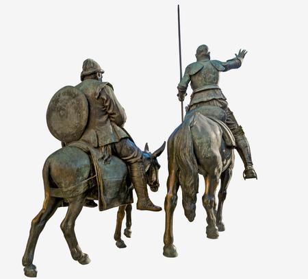 don quijote: Don Quijote de la Mancha guía a Sancho Panza en la búsqueda de aventuras Foto de archivo