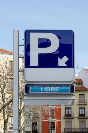libre: Free parking sign in an spanish city. parking libre