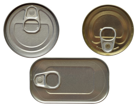 tin cans: Top view of some tin cans isolated over white