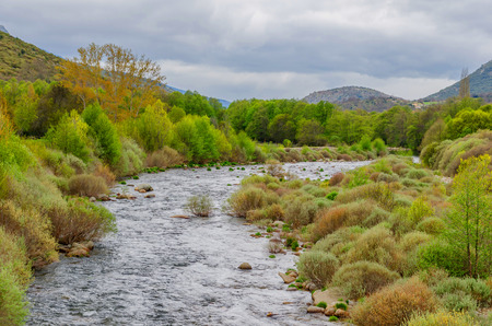green river: River Tormes in Sierra de Gredos, Avila, Castile and Leon, Spain Stock Photo