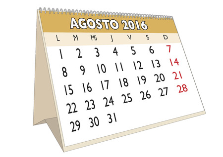 thursday: August month in a year 2016 calendar in spanish. Agosto 2016. Calendario 2016