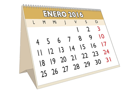 scheduler: January month in a year 2016 calendar in spanish. Enero 2016. Calendario 2016