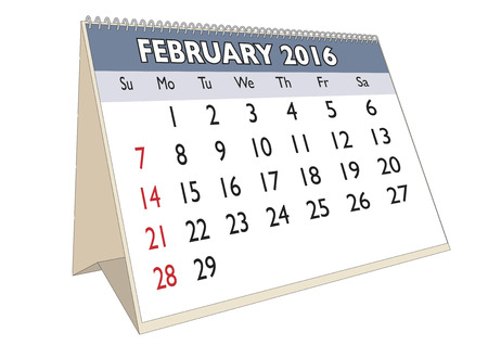 month: February month in a year 2016 calendar in english. Week starts on Sunday Illustration