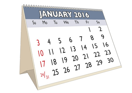 January month in a year 2016 calendar in english. Week starts on Sunday
