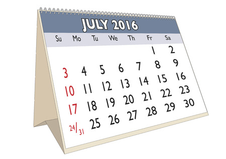 scheduler: July month in a year 2016 calendar in english. Week starts on Sunday