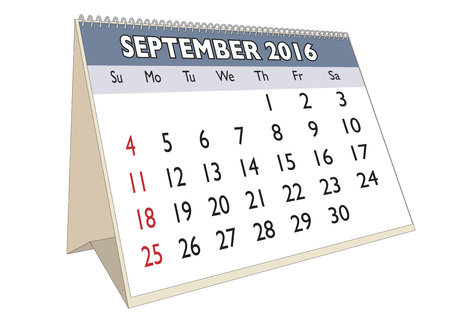 thursday: September month in a year 2016 calendar in english. Week starts on Sunday Illustration