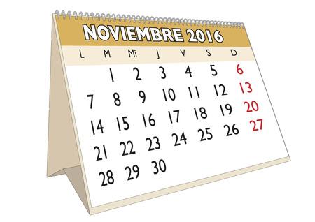 scheduler: November month in a year 2016 calendar in spanish. Noviembre 2016. Calendario 2016