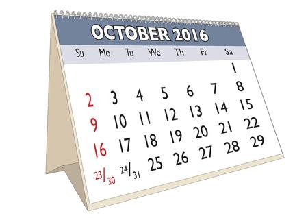 październik: Miesiącu październiku w roku 2016 kalendarz w języku angielskim. Tydzień zaczyna się w niedzielę Ilustracja