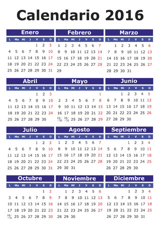 2016 vector calendar in Spanish. Easy for edit and apply. Calendario 2016 Иллюстрация